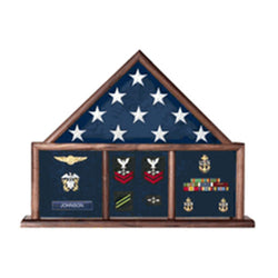 Flag and Memorabilia, Flag Shadow Box, Combination Flag Medal - Oak Material.