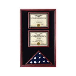 2 Documents Flag Display Cases - Cherry.