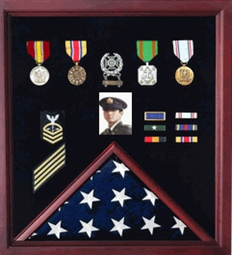 5 x 8 Flag Display Case Combination For Medals Photos - Size.