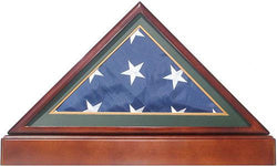 Flag Connections Burial/Funeral Flag Display Case Frame Military Shadow Box with Pedestal Stand