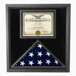 Flag and Certificate Case Black Frame, with certificate holder American Made - Material.