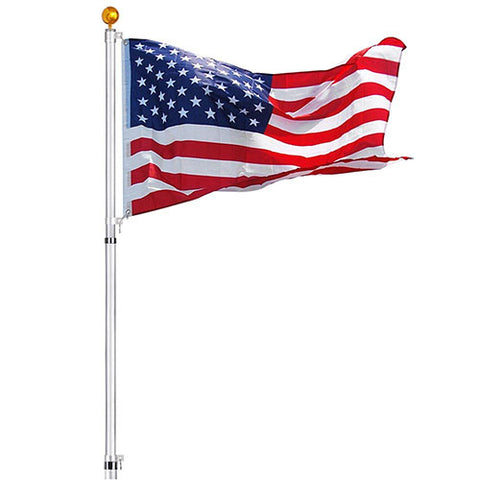 30 ft Telescopic Flag Pole Kit Fly 2 Flags 16 Gauge Aluminum Flagpole 3'x5' US Flag & Ball Outdoor Garden