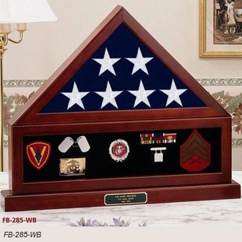 Flag Connections Combination Flag Display Case Shadow Box, Flag medal pedestal