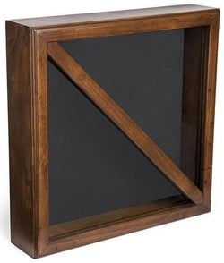 Flag Display Box, Tempered Glass & Pine Wood Construction – Cherry, Black Finish (FC59FLG3CH)