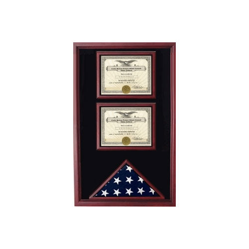 2 Certificates Flag Display case