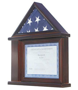 Flag Display Case Certificate & Document Holder Frame Military Shadow Box, for 3' X 5' Flag only
