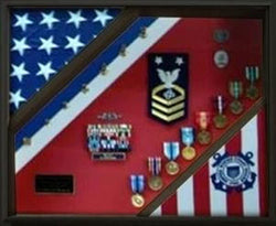2 Flag Display Case, Coast Guard Gifts, USCG, Shadow Box, USCG Shadow Box, Coast Guard Cutter, USCG Shield....