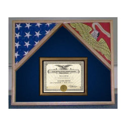 Military Flag Case For 2 Flags and Certificate Display Case - Cherry.