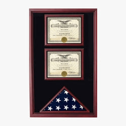 2 Certificates Flag Display case - Cherry or Oak or Black.