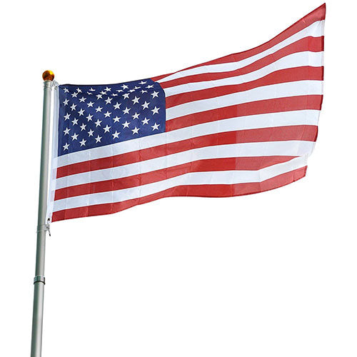 25ft Telescopic Aluminum Flag Pole 16 Gauge Fly 2 Flags 3'x5'