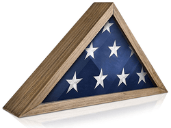 Rustic Flag Case SOLID WOOD Military Flag Display Case for 9.5 x 5 Flag