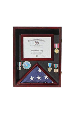 "Flag Display Case Pin Medal Shadow Box with Certificate/Letter Holder for 3 x 5 ft Presentation Flag, 21.75"" H X 17.5"" W Overall"