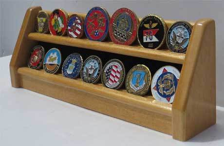 Challenge Coin/Casino Chip Display Stand Rack Holder Stand (2 Rows)