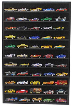 Flag Connections Hot Wheels Matchbox 1/64 Scale Model Cars Display Case Cabinet - NO Door (Black)