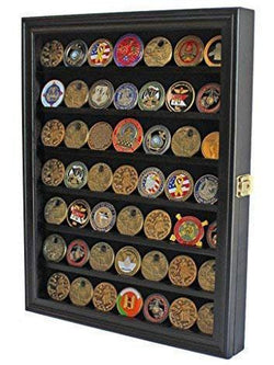 Challenge Coin / Casino Chip Display Case Cabinet Holder Shadow Box, Glass Door