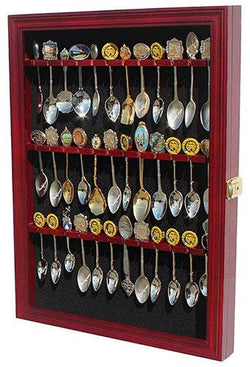 Flag Connections Tea Spoon Souvenir Spoon Display Case Rack Cabinet, Real Glass Door