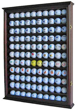 Flag Connections 110 Golf Ball Display Case Wall Cabinet Holder Shadow Box, Solid Wood