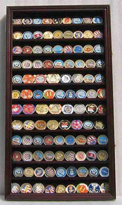 Flag Connections LOCKABLE Military Challenge Coin Display Case Cabinet Rack Holder