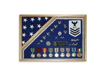 Military Shadow Box 18x24, Medal and flag display case