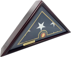 5x9 Burial/Funeral/Veteran Flag Elegant Display Case, Solid Wood, Cherry Finish, Flat Base (5x9, Marine)