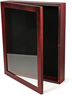 12x15x2 Shadow Box Display Case | Magnetically Opens and Closes like a Door - Real Wood, Strong Glass