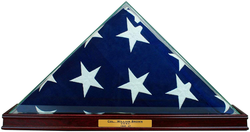 All Glass Flag Display Case for 9.5' X 5' Flag with Engraving (Cherry)
