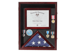 Military Shadow Box 3'X5' Flag Display Case, with Certificate Frame (Mahogany)
