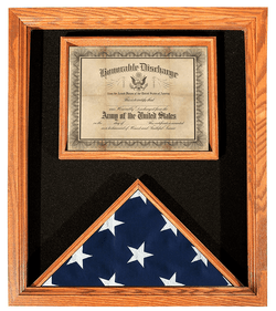 Premium USA-Made Solid Oak Flag And Document Case
