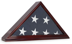 "Cherry Wood Memorial Flag Frame Display Case for 5"" x 9.5"" Flag Folded for Funeral or Burial Flag"