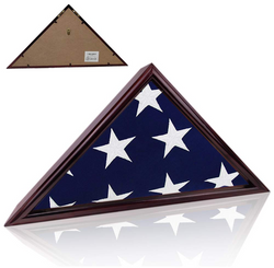 Flag Display Case for Military Veteran Burial Funeral Flag 5' x 9' - Solid Wood