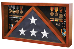 Rectangle Combo Flag Case for 5' x 9' Veterans Burial Flag and Medals Cherry