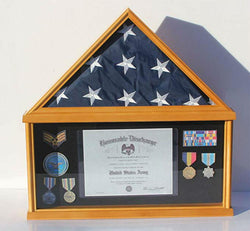 Military Memorial Shadow Box, Burial/Funeral Flag Display Case for 5' X 9.5' Flag (Cherry)