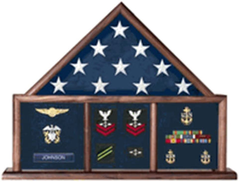 Memorial Flag Case, Three Bay shadow box perfect size case for a your mantle, holds a ample amount of memorabilia!