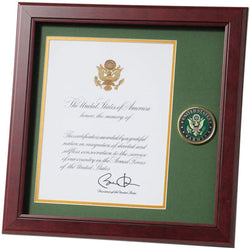 Army Presidential Memorial Certificate Frame with Medallion - 8 x 10 inch