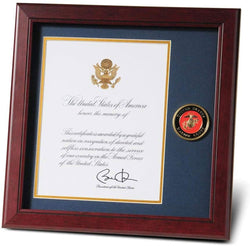 Marine Corps Presidential Memorial Certificate Frame with Medallion - 8 x 10 inch