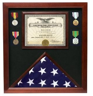Police  Flag Medal Display Box- Shadow Box, Flag Box Hand Made By Veterans