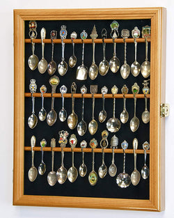36 Spoon Display Case Rack Cabinet Holder Wall Mounted -Oak Finish