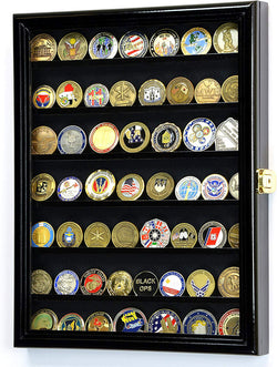Military Challenge Coin Display Case Cabinet Holder Wall Rack 98% UV Lockable