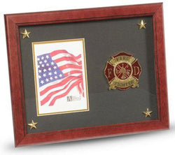 Flag Connections Firefighter Medallion Picture Frame with Stars, 5 by 7-Inch.