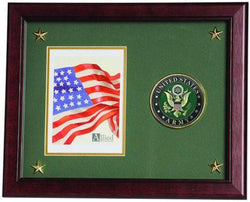 Flag Connections United States Army Vertical Picture Frame with Medallion and Stars.