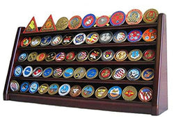 Flag Connections 5 Rows Challenge Coin/Casino Chip Holder Display Stand, Mahogany Finish