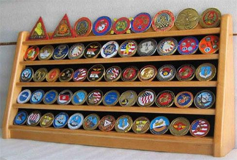 Flag Connections 5 Rows Challenge Coin Holder Display Stand, Solid Wood,  (Oak Finish)