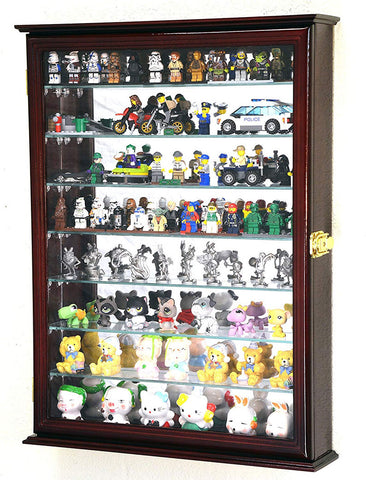 Large Lego Men Minifigures/Star Wars/Disney/Minature Figurines Display Case Cabinet w/Adjustable Shelves(Cherry Finish)