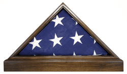 Solid Walnut Flag Case & BASE for 5x9.5 Memorial Burial Flag, USA Made, Fine Furniture Quality