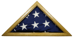 Solid Light Oak Flag Case for 3 x 5' Nylon Flag, Military Missions or State Capital Size, USA Made