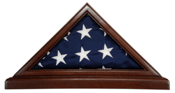 Solid Mahogany Flag Case WITH BASE for 3 x 5' Nylon Military Missions or Capital size Flag, USA Made