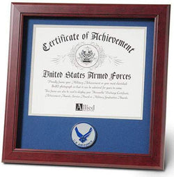 US Aim High Air Force Certificate of Achievement Frame with Medallion - 8 x 10 inch.