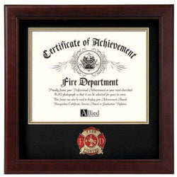 Firefighter Medallion Certificate Frame Hand Made By Veterans.