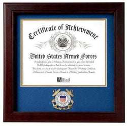 US Coast Guard Certificate of Achievement Frame with Medallion - 8 x 10 inch.
