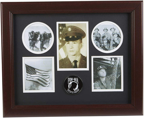 The Military Gift Store US Flag Store POW/MIA Medallion 5 Picture Collage Frame.